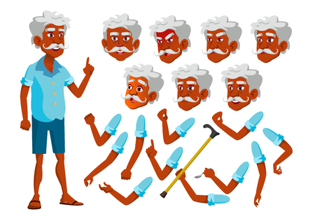 Indian Old Man Vector. Senior Person. Aged, Elderly People. Leisure, Smile. Face Emotions, Various Gestures. Animation Creation Set. Isolated Flat Cartoon Character Illustration