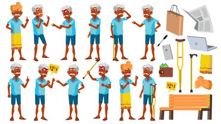 Vector de conjunto de poses de anciano indio. Personas de edad avanzada. Hindú. Asiático. Persona mayor. Envejecido. Abuelo alegre. Presentación, invitación, diseño de tarjeta ilustración aislada
