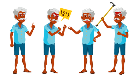 Indian Old Man Poses Set Vector. Elderly People. Hindu. Asian. Senior Person. Aged. Positive Pensioner. Advertising, Placard, Print Design Isolated Illustration