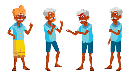 Indian Old Man Poses Set Vector. Elderly People. Senior Person. Hindu. Asian. Aged. Smile. Web, Poster Booklet Design Isolated Illustration
