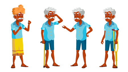 Indian Old Man Poses Set Vector. Elderly People. Senior Person. Aged. Friendly Grandparent. Hindu. Asian. Banner, Flyer, Brochure Design Isolated Illustration