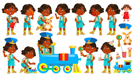 Indian Girl Kindergarten Kid Poses Set Vector. Hindu. Playing With Railway Train. Child Expression. Activity. For Banner, Flyer, Web Design. Isolated Cartoon Illustration Иллюстрация