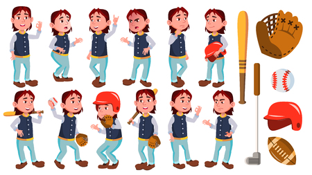 Boy Schoolboy Kid Poses Set Vector. Primary School Child. Baseball Sport Player. Smile. For Advertisement, Greeting, Announcement Design. Isolated Illustration