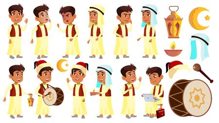 Arab, Muslim Boy Schoolboy Kid Poses Set Vector. School Child. Celebrating Ramadan Kareem. Life, Emotional. For Banner, Flyer, Web Design. Isolated Illustration Ilustración de vector