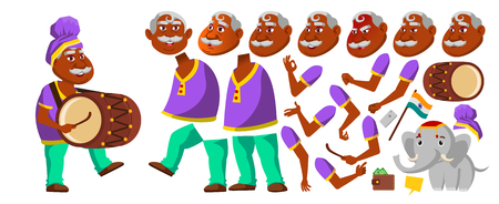 Indian Old Man Vector. Hindu. Asian. Senior Person With Drum, Tutban, Elephant. Elderly People. Aged. Animation Creation Set. Face Emotions, Gestures Cute Animated Isolated Cartoon Illustration