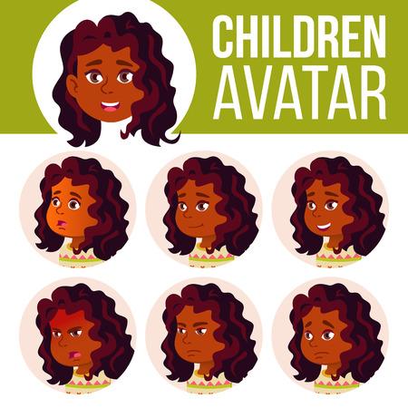 Indian Girl Avatar Set Kid Vector. Hindu. Asian. High School. Face Emotions. School Student. Kiddy, Birth Head Illustration
