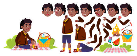 Boy Schoolboy On Picnic Vector. Black. Afro American. Animation Creation Set. Study. Summer Hiking Relax. For Presentation, Invitation, Card Design. Emotions Gestures Animated Illustration 일러스트