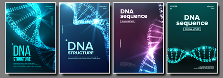 Dna Poster Set Vector. Genetic Molecule. Abstract Helix. Clone Atom. Mutation Test. Futuristic Code. Science Background. Biochemistry Flyer. Illustration Illustration