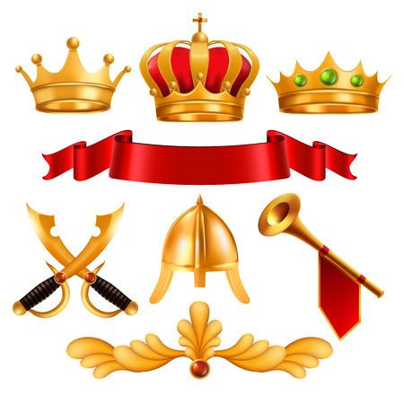 Vettore di corona d'oro. Corona reale del re d'oro con gemme, tessuto in velluto con nastro rosso, elmo da spada, corno. Potere monarchico, vincitore della competizione. Certificato, Diploma Design. Illustrazione realistica isolata