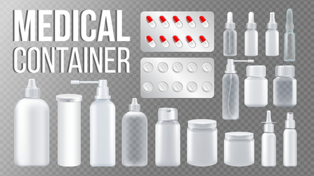Medical Container Vector. Spray, Pills, Drugs, Bottle With Cap. Pharmaceutical Medicament Packaging. Pharma Branding Design. Clean Empty Product Mockup Template. Isolated Realistic Illustration