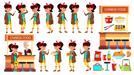 Asian Girl Kid Poses Set Vector. Child. Classic Restaurant, Takeaway Food. Suchi, Rolls, Spaghetti. For Presentation, Print, Invitation Design Cartoon Illustration Ilustração