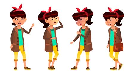 Beautiful Asian Girl Poses Vector. High School Child. High School. For Web, Brochure, Poster Design. Cartoon Illustration