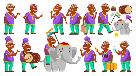 Indian Old Man Poses Set Vector. Elderly People. Hindu In Turban. Senior Person. Aged. Traditional Festival, Parade. Elephant. Activity. Advertisement Announcement Design Illustration