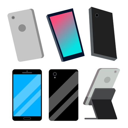 Modern Smartphones Set Vector. Electronic Object. Gadget. Isolated Flat Cartoon Illustration