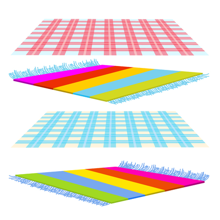 Checked Cover, Carpet, Tapis Vector. Isolated Flat Cartoon Illustration