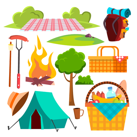 Picnic Items Vector. Tent, Campfire, Sausages, Basket. Hike Summer Vacation Isolated Flat Cartoon Illustration