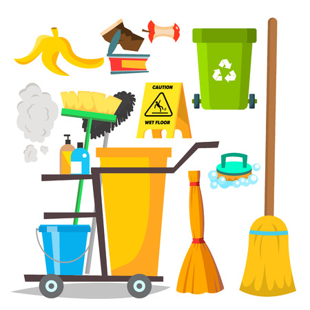 Cleaning Items Vector. Household Supplies Icons. Equipment. Isolated Flat Cartoon Illustration Çizim