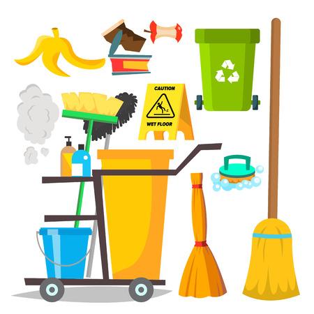 Vector de artículos de limpieza. Iconos de suministros para el hogar. Equipo. Ilustración de dibujos animados plano aislado Ilustración de vector