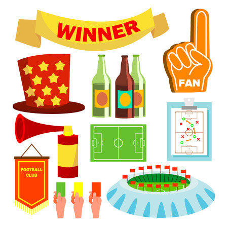 Sport Fan Items Vector. Supporters Accessories. Pub, Beer. Cheer. Isolated Flat Cartoon Illustration Illustration