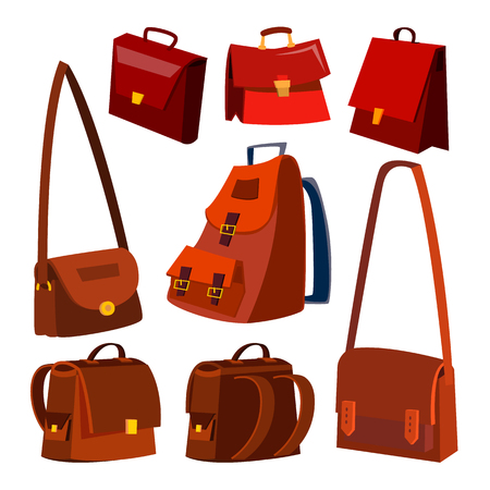 Brown Leather Bag Set Vector. Briefcase. For Male, Female. School And Business. Isolated Flat Cartoon Illustration