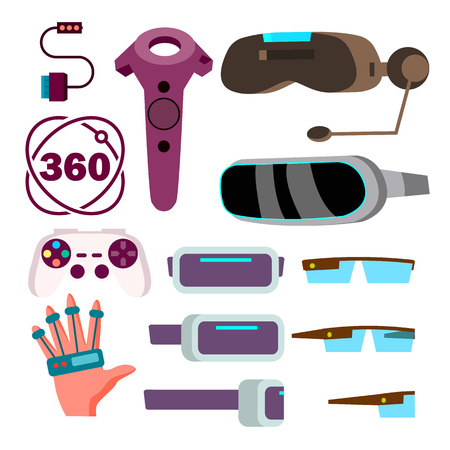 Virtual Reality Glasses Vector. Cyberspace Technology. VR Game. Futuristic Mask. Isolated Flat Cartoon Illustration Vectores