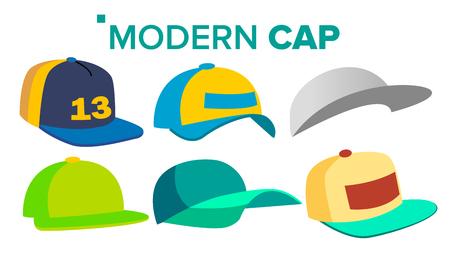 Summer Cap Set Vector. Man, Woman Headwear. Sport Uniform. For Children And Adult. Isolated Flat Cartoon Illustration