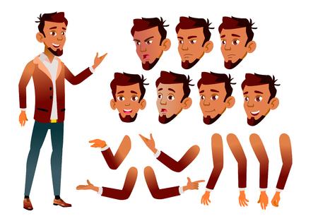 Arabische, islamitische tienerjongen Vector. Tiener. Schoonheid, levensstijl. Gezichtemoties, verschillende gebaren. Animatie Creatie Set. Geïsoleerde platte stripfiguurillustratie