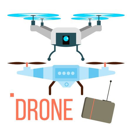 Drone Vector. Remote Aerial Quadcopter. Photo, Video, Delivery Isolated Cartoon Illustration
