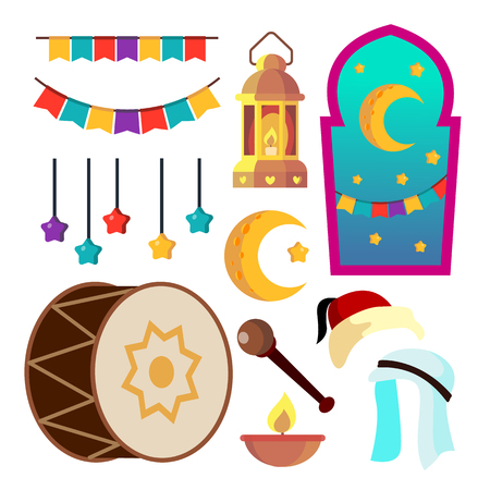 Ramadan Icons Vector. Muslim Islam Symbols. Moon, Star, Lamp. Isolated Flat Cartoon Illustration