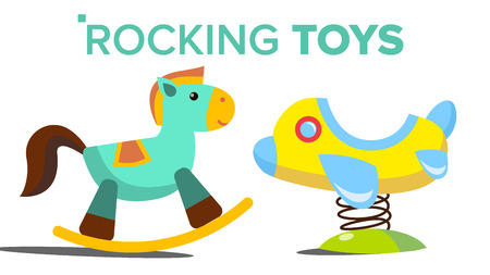 Rocking Toys Vector. Horse, Plane. Child, Kid Playground. Isolated Flat Cartoon Illustration Illustration