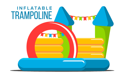 Inflatable Trampoline Vector. Playground Toy. Castle, Tower. Park. Isolated Flat Cartoon Illustration