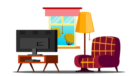 Home Interior Vector. Living Room. Classic. Furniture, TV. Isolated Cartoon Illustration