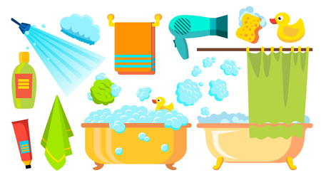 Take A Shower, Bath Icons Vector. Accessories Hairdryer, Shampoo, Towel Foam Isolated Cartoon Illustration