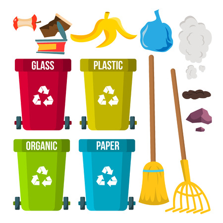 Sorting And Cleaning Garbage Vector. Recycle Bins. Separation. Dump. Ecological Problem. Isolated Flat Cartoon Illustration