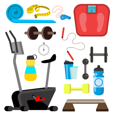 Fitness Icons Vector. Simulator, Scales, Dumbbell, Gym Equipment Accessories. Isolated Flat Cartoon Illustration