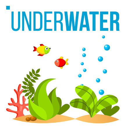 Underwater World Vector. Bottom, Fish, Seaweed, Bubbles. Isolated Flat Cartoon Illustration