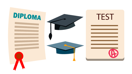 Diploma, Cap Vector. Graduation Cartificate. Degree Hat. Education Study. Isolated Flat Cartoon Illustration Vectores
