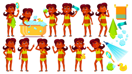 Indian Girl Kid Poses Set Vector. Hindu. Child Take A Shower. Cheer, Pretty, Youth. Undressed. Pool, Beach. For Advertisement Greeting Announcement Design Isolated Illustration 矢量图像