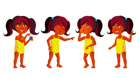 Indian Girl Kindergarten Kid Poses Set Vector. Hindu. Kiddy, Child Expression. Undressed. Summer Vacation. Beach, Pool, Water Park. For Postcard, Cover, Placard Design. Isolated Cartoon Illustration