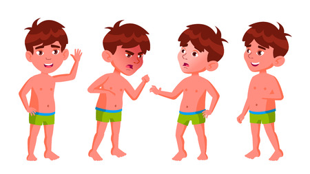 Boy Kindergarten Kid Poses Set Vector. Pretty Positive Baby. Undressed. Summer Vacation. Pool, Beach. For Postcard, Announcement, Cover Design.Isolated Cartoon Illustration