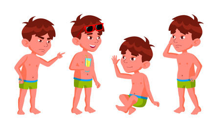 Boy Kindergarten Kid Poses Set Vector. Summer Vacation. Pool, Beach. Undressed. For Card, Advertisement, Greeting Design. Isolated Cartoon Illustration