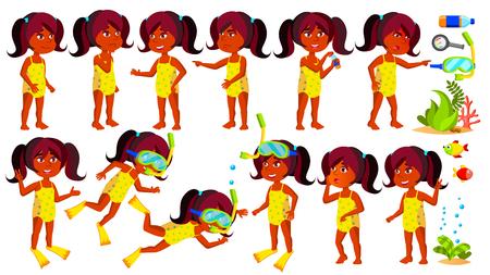 Indian Girl Kindergarten Kid Vector. Hindu. Swimmer, Diver. Ocean Depth, Under Water. Undressed. Little Children. Happiness Enjoyment. For Web, Brochure, Poster Design. Isolated Cartoon Illustration