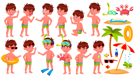 Boy Kindergarten Kid Poses Set Vector. Preschool, Childhood. Smile. Undressed. Summer Vacation. Water Park, Pool, Beach. For Web, Poster, Booklet Design. Isolated Cartoon Illustration