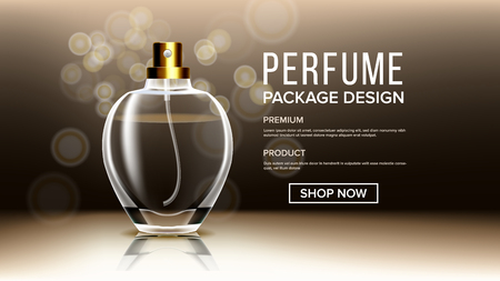 Cosmetic Glass Product Vector. Bottle. Luxury, Fashion. Fragrance, Collagen. Isolated Transparent Realistic Mockup Template Illustration Ilustração
