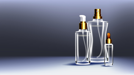 Cosmetic Glass Ads Vector. Medical Moisturizer. Oil, Water, Perfume. Bottle. 3D Isolated Transparent Realistic Mockup Template Illustration