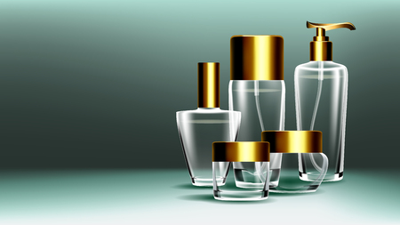 Cosmetic Glass Banner Vector. Bottle. Premium Jar. Perfume, Essence. 3D Transparent Realistic Mockup Template Illustration Иллюстрация