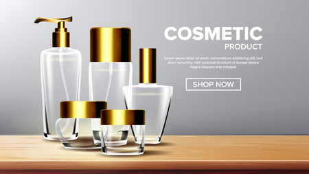 Cosmetic Glass Product Vector. Medical Moisturizer. Luxury, Fashion. Bottle. Jar. 3D Transparent Realistic Mockup Template Illustration