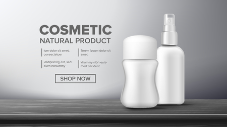 Cosmetic Bottle Advertising Vector. Luxury Light. Abstract Label. Shiny Object. Elegant Woman. 3D Mockup Realistic Illustration