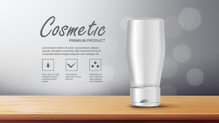 Cosmetic Bottle Banner Vector. Empty Plastic. White Package. Product Branding Design. Container, Tube. 3D Mockup Realistic Illustration