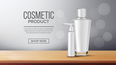 Cosmetic Bottle Advertising Vector. Empty Plastic. Sale Flyer. Luxury Light. Abstract Label. Shiny Object. 3D Mockup Realistic Illustration